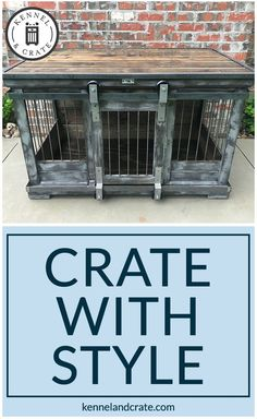 Farmhouse Style single dog kennel by Kennel and Crate! Barn door rollin' door that can remain wide opened for those that don't like to close up their pets!  We build pieces of furniture for your dog. #Kennelandcrate #Dog #Kennel #Crate #Farmhousestyle