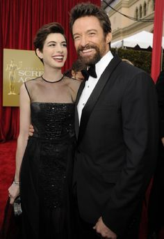 Hugh Jackman and Anne Hathaway at 2013 Screen Actors Guild Awards, Show and Audience