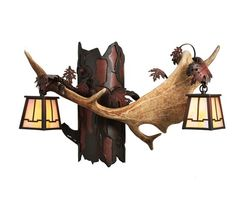 """23.5"""" Fallow Antlers 2 Light Wall Sconce"""