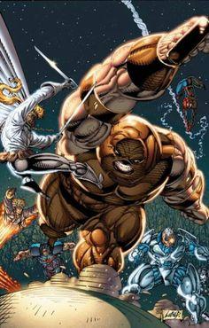 X-force vs. Juggernaut art by Rob Liefeld
