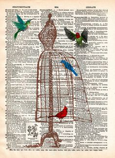 Vintage dress frame (or form...i dont know what to call it) has been repurposed by our winged friends. A Cardinal, Bluebird and pair of Hummingbirds make good use of this vintage frame.....er form. Th