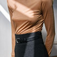 camel top and belted wool skirt #style #fashion