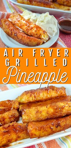 Summertime screams PINEAPPLE! It's such a happy color and just tastes like summer! It's the Sweet Tart of the fruit world. And popping pineapple in your air fryer will make the best dessert in just minutes! Grilled Pineapple Desserts, Grilled Peaches, Fruit Recipes, Cooking Recipes, Healthy Recipes, Dessert Recipes, Buttery Sugar Cookies, Air Fryer Recipes Easy, Advocare Recipes