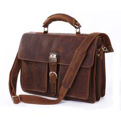 Men Genuine Leather Attache Briefcase 16'' Laptop Portfolio Handbag Shoulder Bag #Leaokuu #DocumentBag