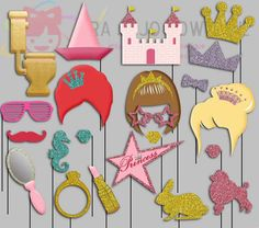 Glitter Princess Party Photo Booth Props Princess queen