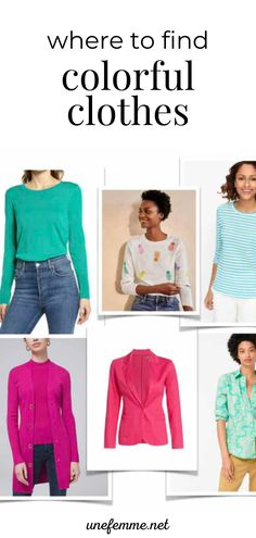 Have you found that when you're shopping for clothes, you find a lot of black, gray and neetral colors? Those colors may not fit in your palette, or you may want to add some color pops to your wardrobe. Here are the best places to shop for colorful clothest to stock your closet. Modern Classic, Classic Style, Colourful Outfits, Colorful, Fashion Bloggers, Fashion Tips, Over 50 Womens Fashion, Chic Dress, Striped Tee