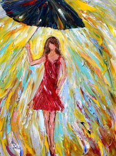 Original oil Rain Girl in Red palette knife painting by Karensfineart