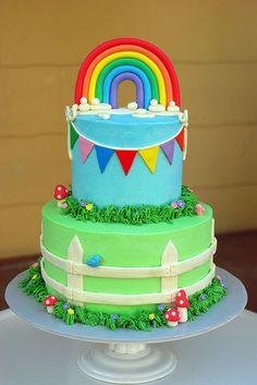 Rainbow Baby Shower Cake