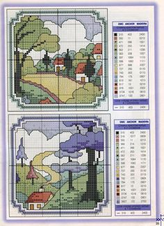 """Clarice Cliff"" style Designs • 3/3 Charts and Colour Key for the two small compositions"