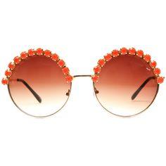 Angela Coral Rhinestone Large Round Half Studded Sunglasses... - Polyvore