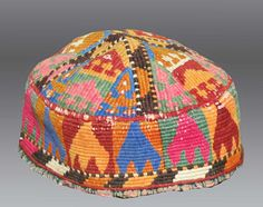 Vintage CLOTHING  Old UZBEK Beaded Adult HAT by tcEclecticImages