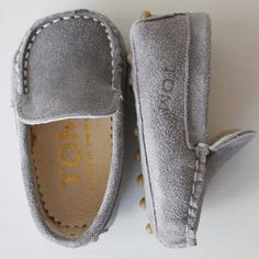(23) Fancy - Grey Moccasins by TOM By Le Petit Tom