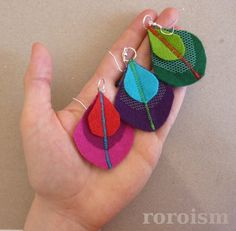 Felt peacock feather Earrings in Purple and Turquoise by roroism