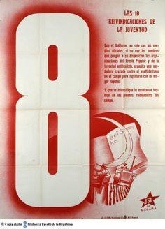 Las 10 reivindicaciones de la juventud : 8, Que el gobierno, no solo con los medios oficiales, ... :: Cartells del Pavelló de la República (Universitat de Barcelona)