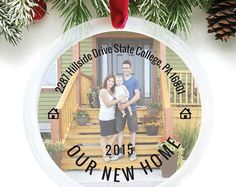 How cute are these new home christmas gifts! perfect for a housewarming gift!   custom personalized christmas tree ornament, what a great gift for the new homeowners
