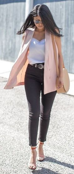#streetstyle #casualoutfits #spring | Pink Vest + White Silk Top + Black Denim | Walk in Wonderland