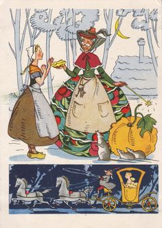 """Postcard Drawing by N. Goltz for Charles Perrault Fairy Tale """"Cinderella"""" -- 1956.  From Russia (Etsy)."""