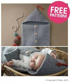 Free knitting pattern for Phildar Baby Sleeping Bag - easy knit in garter stitch with hood and buttoned front