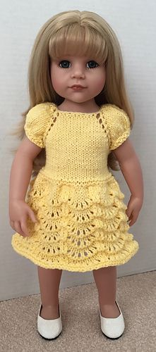 This pretty Hannah doll dress has a choice of two skirt patterns so the dresses that you knit can look different each time. The puff sleeve adds a pretty look to the bodice.