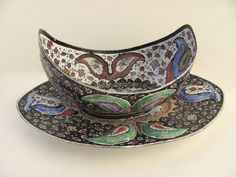 Persian Enamel on Copper Bowl and Underplate