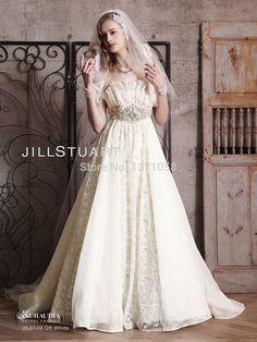 2017 Luxury Custom Wedding Dress Scalloped Collar Beaded Crystals Sash Pleats Ruffles A line Court Train Bridal Gowns