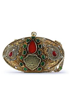 Meera Mahadevia royal clutch bag. Feel like the princess herself let it swing in your hand   as you pair it with a  Rich Red lehenga