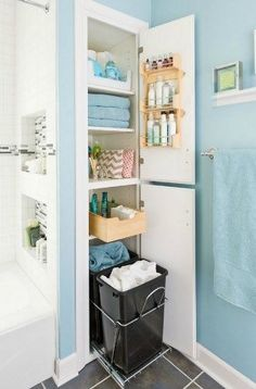 Storage-Packed Small Bathroom Makeover – modern – bathroom – other metro – Lowe&… Bathroom Storage Solutions, Small Bathroom Storage, Bathroom Closet, Bathroom Interior, Bathroom Organization, Organization Ideas, Bathroom Ideas, Organized Bathroom, Small Bathrooms