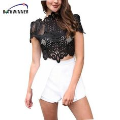 2d84a6c7f8ef0f Bothwinner Summer Style Elegant Black Lace Crochet Crop Top Girls Short  Sleeve White Women Sexy Hollow