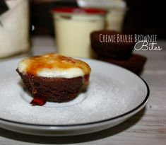 ~Creme Brulee Brownie Bites!  Oh my! I think I might try these but with cheesecake to instead of vanilla pudding