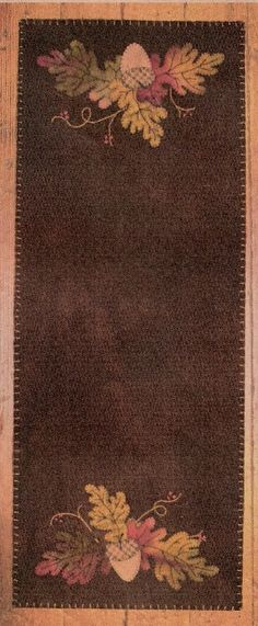 Wool acorn applique table runner