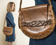 Vintage Leather Purse Brown Braided Hippie 70s Saddle Handbag Bag