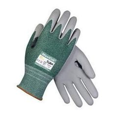Protective Industrial Products® Medium MaxiCut® 3 By ATG® Cut Resistant Green Engineered Yarn Gray Micro-Foam Nitrile Palm And Fingertip Coated Work Gloves With Gray Seamless Glass, Polyester, Lycra® And Nylon Liner And Continuous Knit Cuff