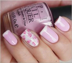 spring wavy french with roses nail art manicure