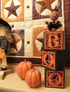 Love the quilt // Needles 'n' Knowledge: Four Halloween Silhouette Projects