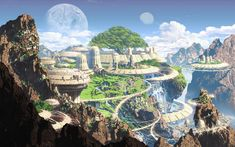 Artwork fantasy art mountains old town moon futuristic widescreen desktop mobile iphone android hd wallpaper and desktop. Fantasy City, World Of Fantasy, Fantasy Castle, Fantasy Places, Fantasy Art Landscapes, Fantasy Landscape, Landscape Art, Fantasy Concept Art, Fantasy Artwork