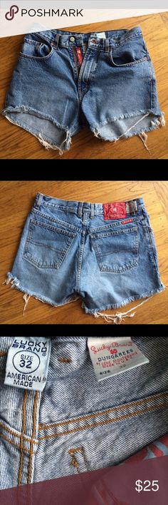 Lucky Brand Jean cutoffs size 32, high waisted High waisted light Jean cutoffs. Really comfortable. Add this staple to your closet. Buy American Made. No spots or stains. Lmk any questions. 2 for 15% off. Lucky Brand Shorts Jean Shorts