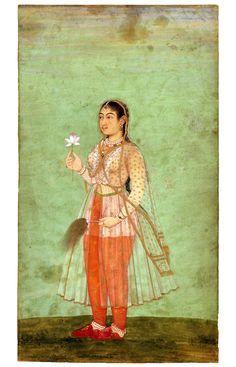 """Miniature. """"En kvinde med blomst og fluevifte"""" Indien, mogul; ca. 1630 Miniaturen: 25 × 14 cm"""