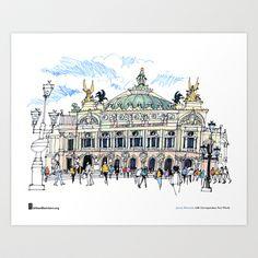 "James Richards, ""Palais Garnier, Paris"" Art Print by Urban Sketchers"