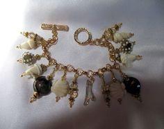 By the Sea Lampwork Seashell Bracelet SRAJD Gold for a change