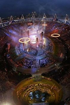 General view of Olympic Stadium during the Opening Ceremony of the 2012 Olympic Games, London.
