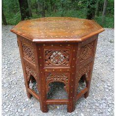 Vintage Moroccan Brass Inlay Tabouret Moorish Side Table | Chairish Water Lighting, Moorish, Moroccan, Hand Carved, Brass, Table, Furniture, Vintage, Design