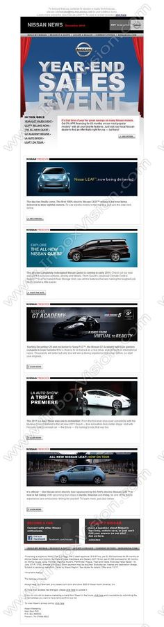 Company:  Nissan North America Inc Subject:  Nissan News: The Nissan Year-End Sales Event               INBOXVISION providing email design ideas and email marketing intelligence.    www.inboxvision.com/blog/  #EmailMarketing #DigitalMarketing #EmailDesign #EmailTemplate #InboxVision  #SocialMedia #EmailNewsletters