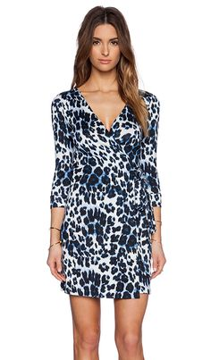 Diane von Furstenberg Julian Two Mini Dress in Blue Snow Cheetah | REVOLVE