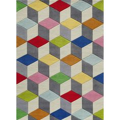 Enjoy pops of bold color in an exciting three-dimensional optical illusion, in this unique 'Lil Mo rug! Made of the softest polyester fibers and crafted by expert Hand-Tufted artisans. Each motif is hand-carved for precision and an illusion of dimension.
