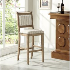 Add chic French farmhouse style to your home with the Linon Home Drake Stool. These classic upholstered stools feature a washed grey finish in a simple ticking fabric with brushed silver nailheads and has four foot rails for added comfort. Grey Bar Stools, Counter Bar Stools, Upholstered Bar Stools, Swivel Bar Stools, Classic Bar, Bars For Home, Foot Rest, Gray