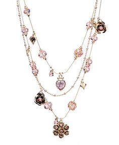 Betsey Johnson Pink Crystal Illusion Necklace