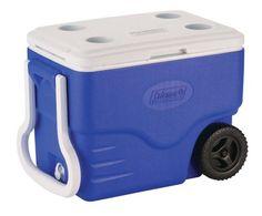 Coleman 40-Quart Wheeled Cooler, Blue - http://www.campingandsleepingbags.com/coleman-40-quart-wheeled-cooler-blue/