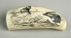August 1, 1819: Birthday of Herman Melville.  Scrimshaw (whale's tooth), ivory and ink, 1910-1940, with engraved scene depicting whalers harpooning a sperm whale.  Gift of Mrs. Fanny Shapiro.  NYHS Object Number 1943.94.