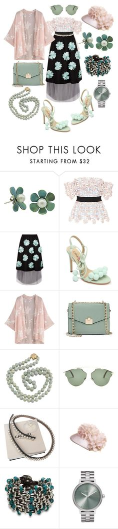 """3D Flowers"" by p0llyinurpocket ❤ liked on Polyvore featuring self-portrait, Paskal, Penny Loves Kenny, Jennifer Lopez, Christian Dior, Chanel, Uno de 50 and Nixon"