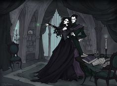 (Music: London After Midnight - Love You To Death) Lord Voldemort gives Bellatrix some Dark Arts lessons Oh that feeling, whan people commissioned something really interesting! Slytherin, Hogwarts, Dark Fantasy, Fantasy Art, Desenhos Halloween, Abigail Larson, Bellatrix Lestrange, Goth Art, Arte Pop